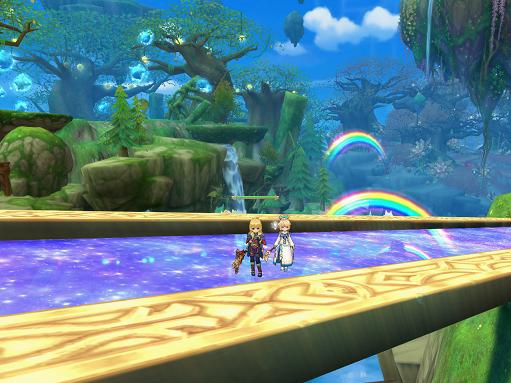 橋の上から眺める天界の風景。虹が綺麗。