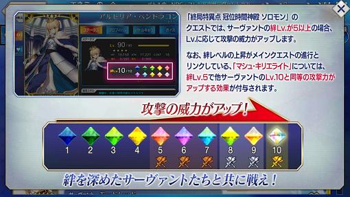 終局特異点では、絆レベル5以上で攻撃力アップ。