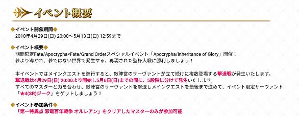 「Fate/Apocrypha(アポクリファ)」コラボイベントの概要