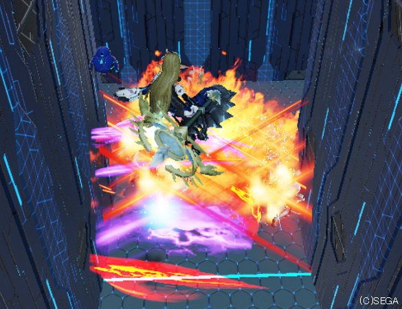 空中から範囲攻撃テクニックを叩き込む。