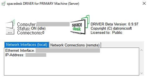 パソコン側でspacedeskサーバーアプリを起動