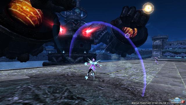 ボスとして魔神城が出現。ロケットパンチで攻撃してきます。